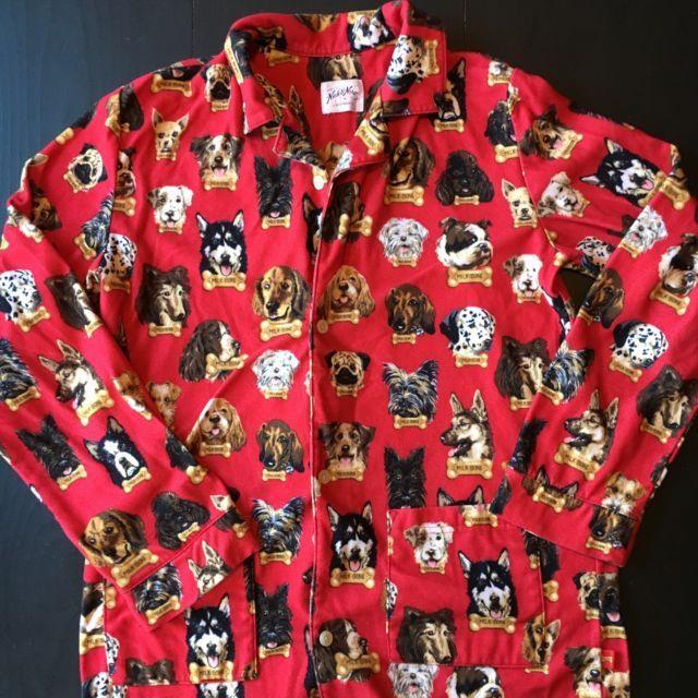 Nick and Nora Pajama Top Red Dogs Milk Bone Flannel Women's M | eBay