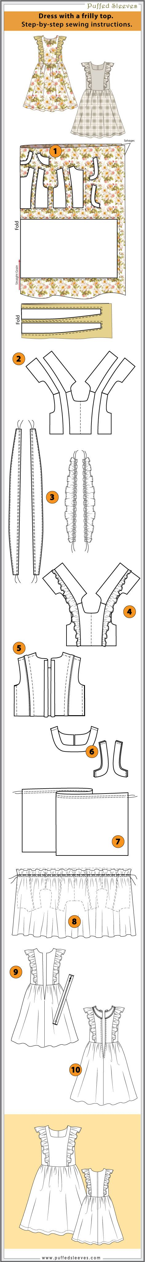 Dress with a frilly top. Step-by-step sewing instructions.
