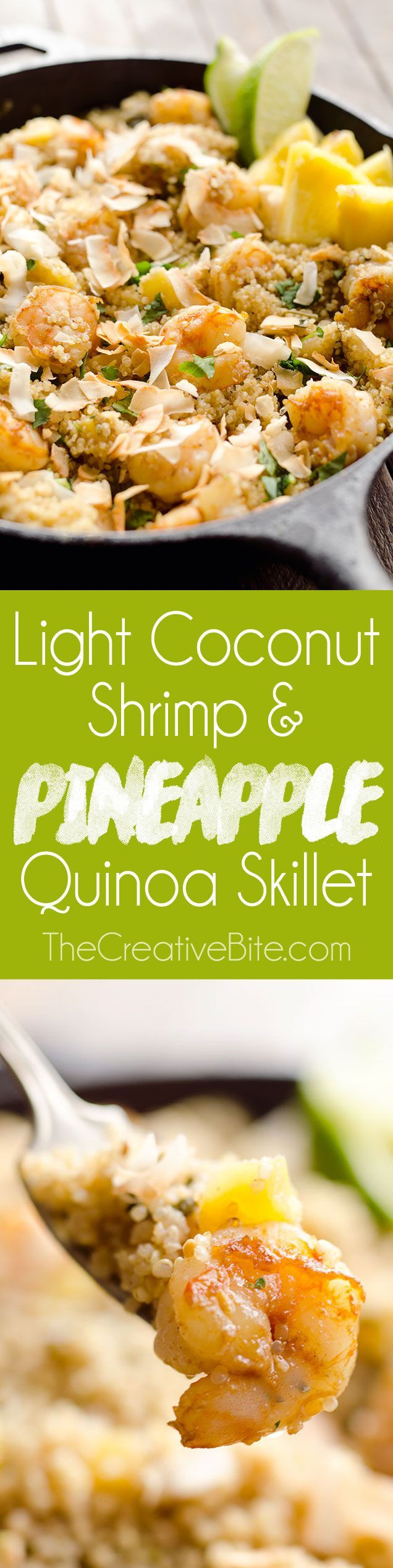 Light Coconut Shrimp & Pineapple Quinoa Skillet is an easy one pot dinner idea loaded with healthy tropical flavors. Quinoa, shrimp, pineapple and unsweetened coconut make up this flavorful and delicious dish for a healthy meal everyone will love. #Quinoa #OnePot #Skillet