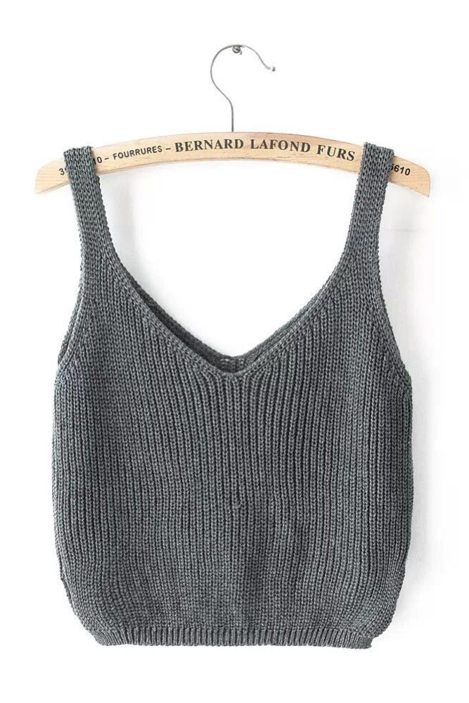Gray Sleeveless Knit Top