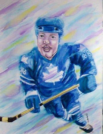 Toronto  Maple Leaf Player by Suzanne-Berton a watercolour cartoon
