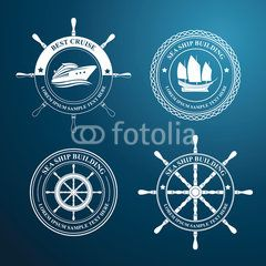 nautical label tree design, vector illustration