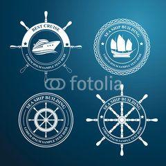 nautical label tree design, vector illustration