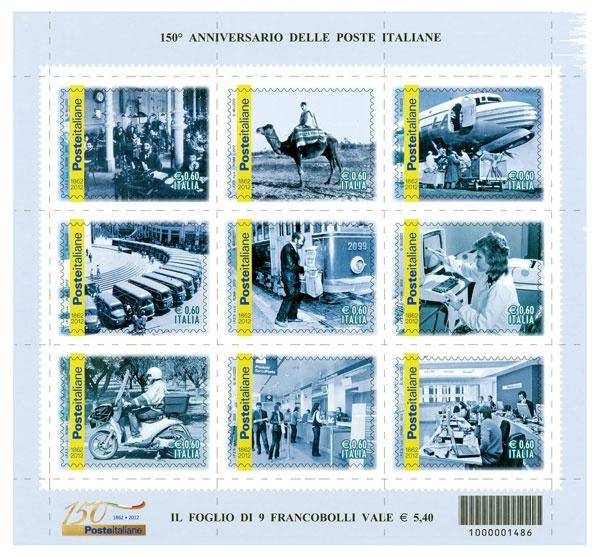 Nove francobolli celebrativi del 150° anniversario di Poste Italiane. Un ideale viaggio iconografico nella storia del sistema postale italiano dal 1862 ad oggi, attraverso una serie di immagini d'epoca e moderne.
