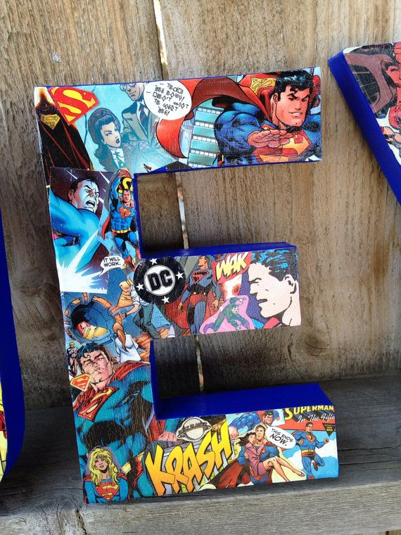 "Custom Handmade ""All Things Superman"" Comic Book Letters, Child's Room Wall Decor, Teacher's Appreciation Gift, or Party Centerpiece"