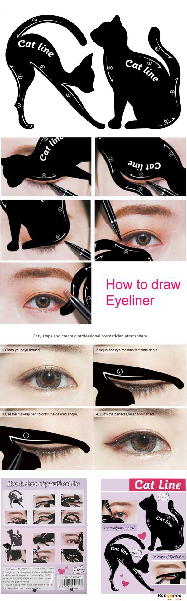 US$5.59 + Free shipping. Learn how to draw eyeliner. Cat Eye Liner Makeup Tool will help you. Find more.
