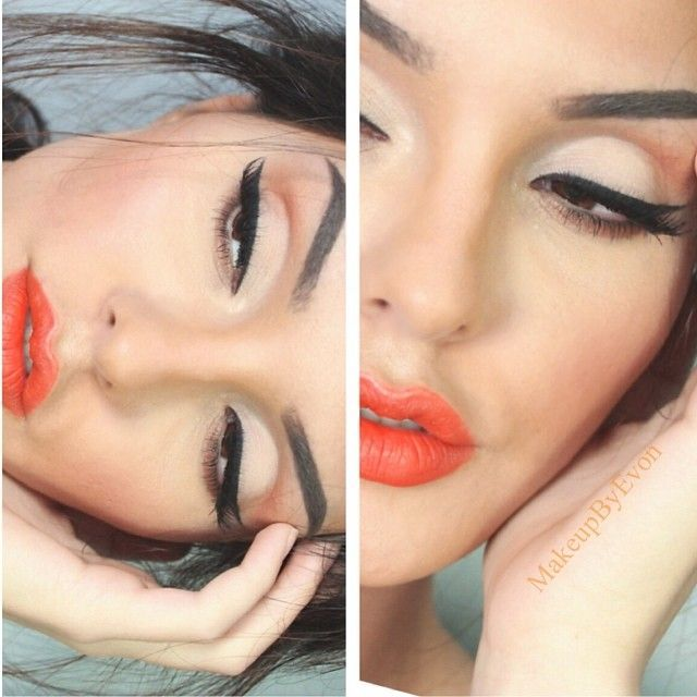 It's not spring yet but coral orange bright lips are gonna be in this spring I will make more looks with bright colors :) ❤️ #nofilter - @makeupbyevon- #webstagram