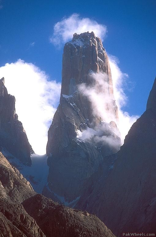 The Great Trango Tower in Pakistan, featuring the World's greatest nearly vertical drop of over 4,300 feet.