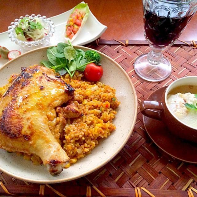 タンドリーチキンはインド料理だよな...カレー風味のピラフもどちらかと言えば˞͛꒰๑ऀ…