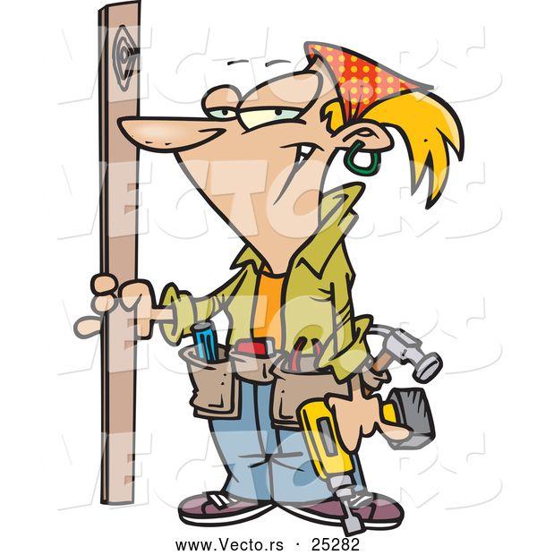 Vector Of A Grinning Cartoon Carpenter Woman Prepared To Do