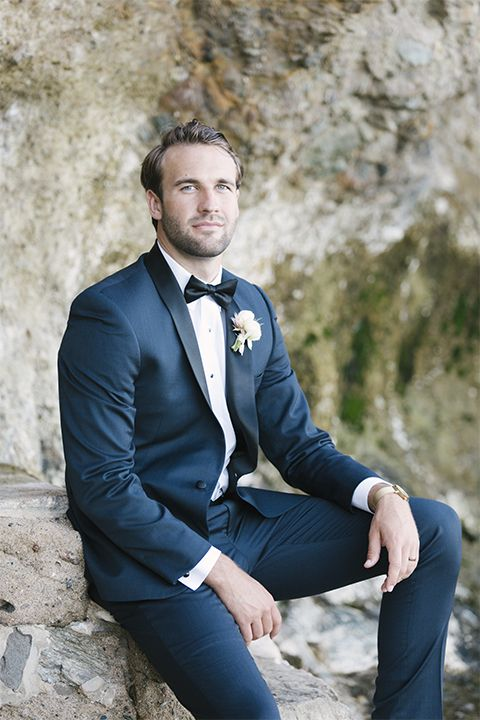 dd0f332e4ae Dana point outdoor beach wedding at cannons seafood grill groom navy blue  shawl lapel tuxedo with white dress shirt and black bow tie with white  floral ...