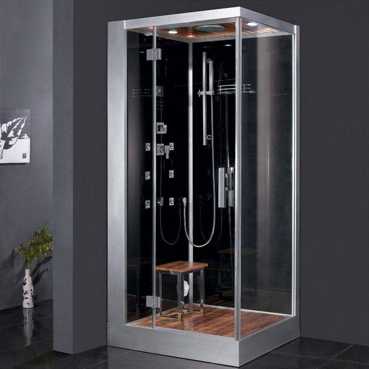 steam shower unit with rainfall ceiling shower handheld showerhead 6 body massage jets lighting acupuncture massage cleaning function u0026 wooden - Steam Shower Units