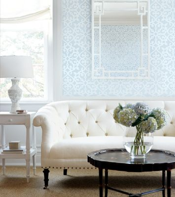 settee. www.withlovefromkat.comDecor, White Living, Paper Pattern, Blue Wall, Livingroom, Interiors Design, Living Room, Wallpapers, Windows Shades