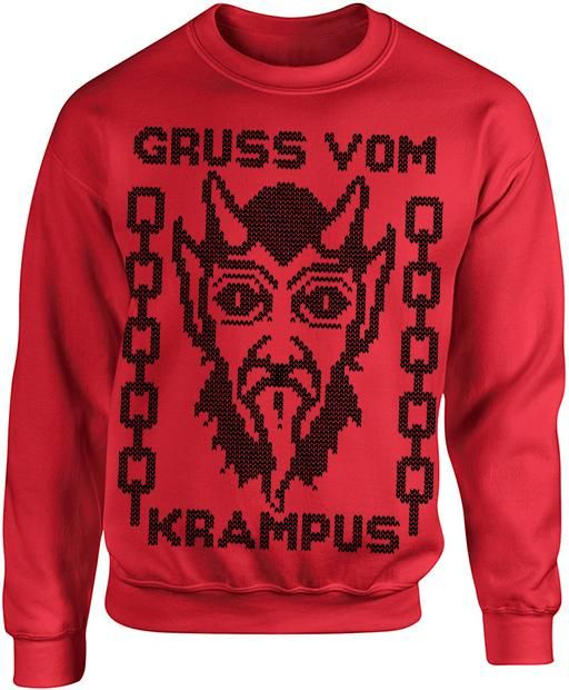 "No kids, that's not Satan! It's the Krampus Sweater! The Krampus sweater reads ""Gruss Vom Krampus"" which translates to ""Greetings from Krampus"". P"