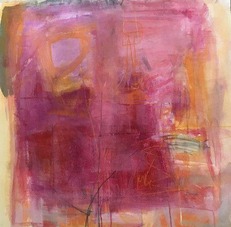 "Jennifer Rivera, ""She Lost All Inhibition"",25"" X 25"",  acrylic graphite and pastel stick on canvas"