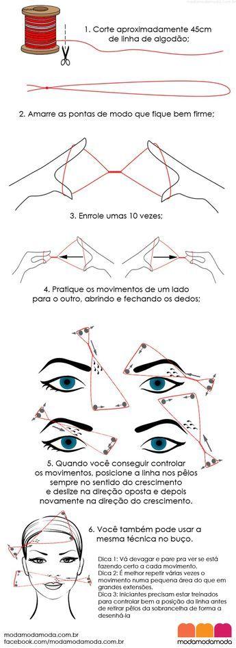 """Como fazer depilação egípcia em casa: O """"threading"""", depilação egípcia ou com linha é uma técnica de depilação temporária que usa um fio de algodão para retirar pêlos a partir do folículo."""
