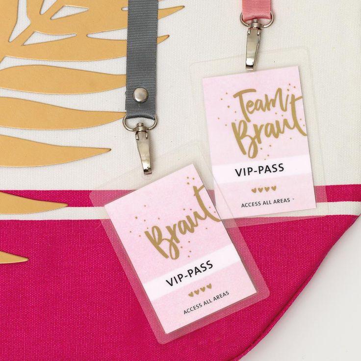 """DIY VIP Ausweis """"Team Braut"""" für den Junggesellinnenabschied zum Selbermachen."""