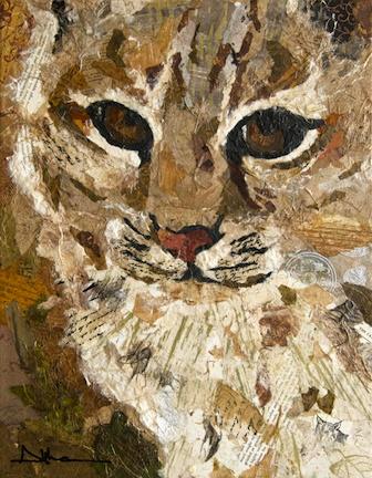 Torn paper collage paintings Althea Sassman Bobcat cat