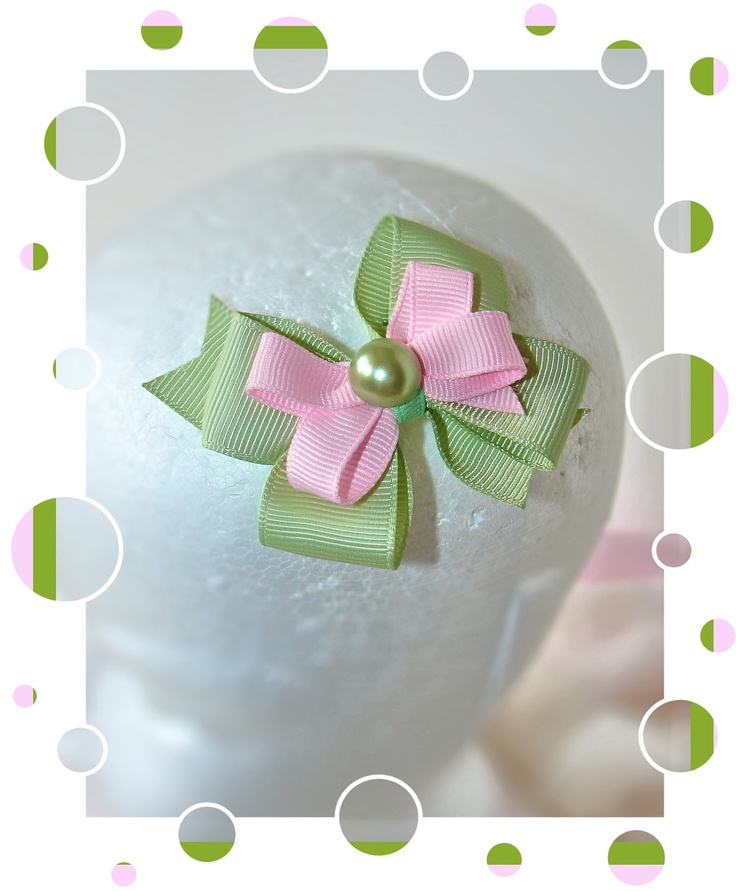 Hair bow - Mint Green & Pink Hairbow Clip