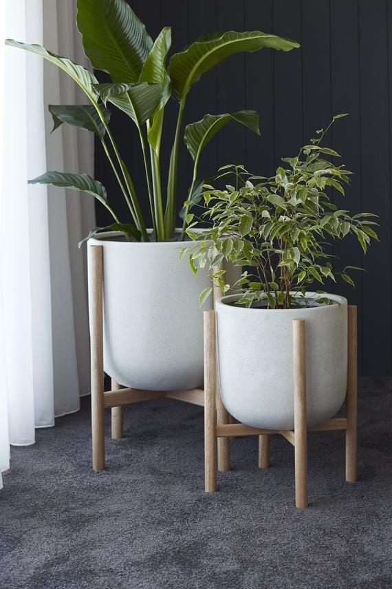 Medium Pot Planter With Timber Legs Luna Series Ecru Modern Plant Stand Planter Pots Planters