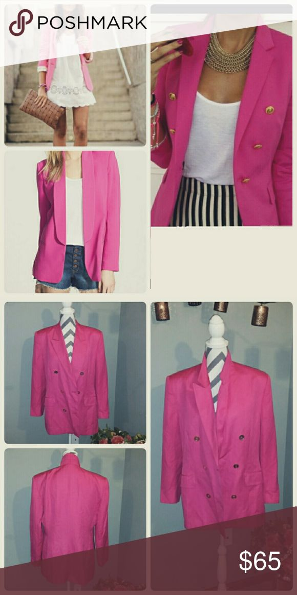 **Hot PINK Blazer** Retro Adorable retro Hot Pink Blazer! Gold buttons and cuff links. Has shoulder pads. So light weight and comfy. Jones New York Jackets & Coats