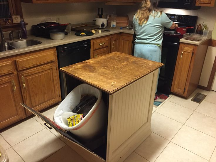 kitchen island with built in trash cans my own pics