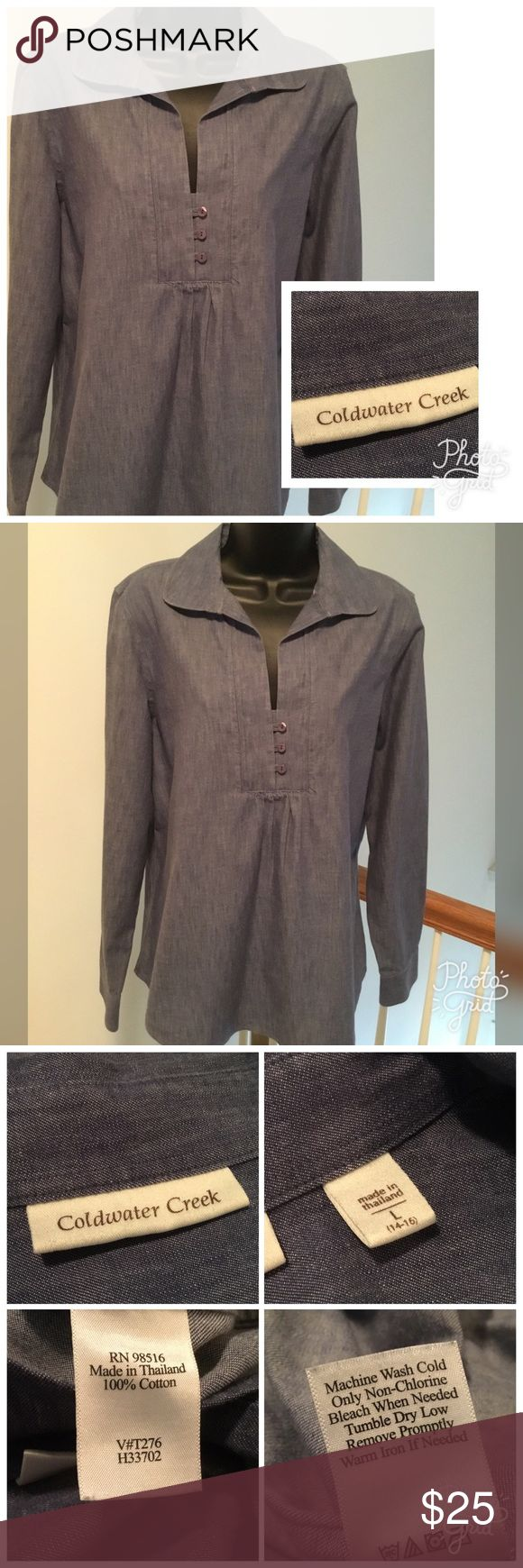 "Coldwater Creek Top Coldwater creek denim long sleeve top. Excellent condition. Measures 22""across and 26"" long. Size 14-16 Coldwater Creek Tops"