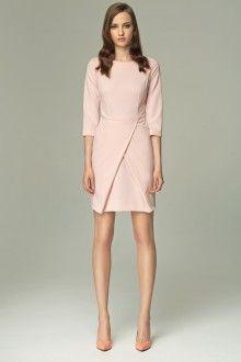 MISEBLA różowa sukienka z zakładkami