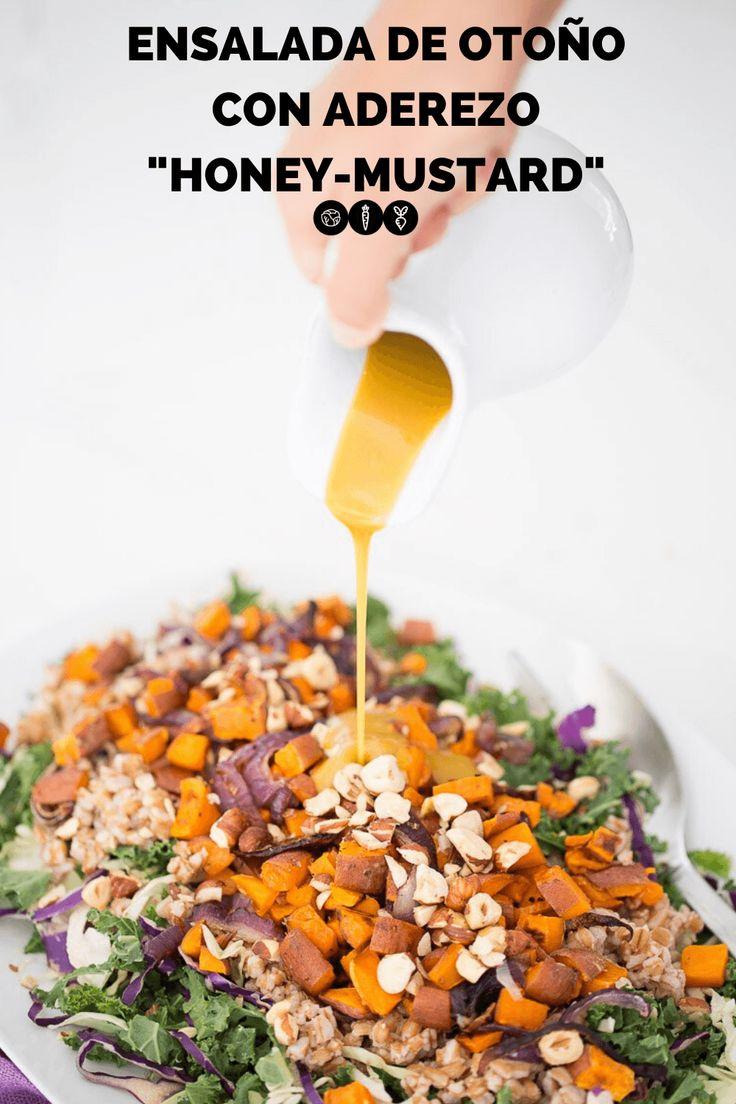 Esta receta de ensalada de otoño con aderezo honey-mustard vegano es la única receta de ensalada que necesitas para este otoño, pruébala. El aderezo vegano para esta ensalada está hecho con miel de maple y mostaza. Es una ensalada super saludabel y deliciosa que estoy segura vas a querer comer todos los días..  #recetasaludable #ensaladalight #recetavegana Honey Mustard, You Are My Sunshine, Salads, Recipies, Tasty, Breakfast, Carne, Brunch, Foods
