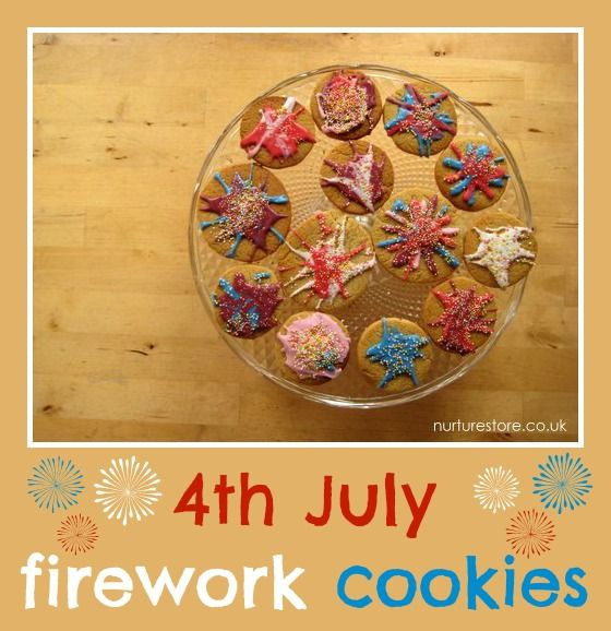 4th July firework cookies - cute, yummy, and the kids could make them! {click through for the recipe}