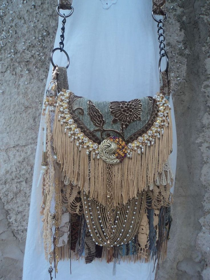 Handmade Victorian Style Cross Body Bag Hippie Gypsy Boho Fringe Purse tmyers #Handmade #MessengerCrossBody