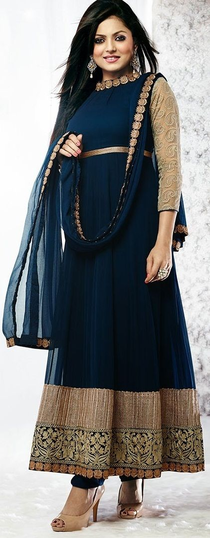 Attractive #Blue Patch Work Long #Anarkali