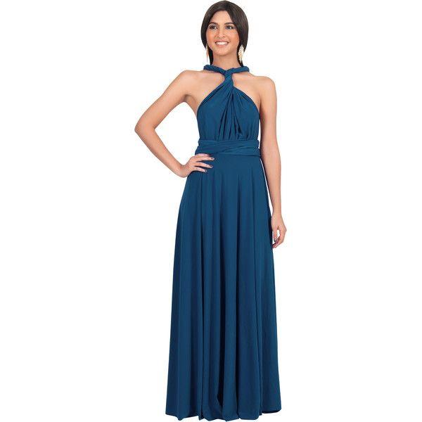 KOH KOH Dark Teal Convertible Wrap & Tie Waist Sleeveless Maxi Dress (16.950 HUF) ❤ liked on Polyvore featuring dresses, dark blue teal, teal blue dresses, dark teal dress, teal dress, multiway maxi dress and sleeveless maxi dress