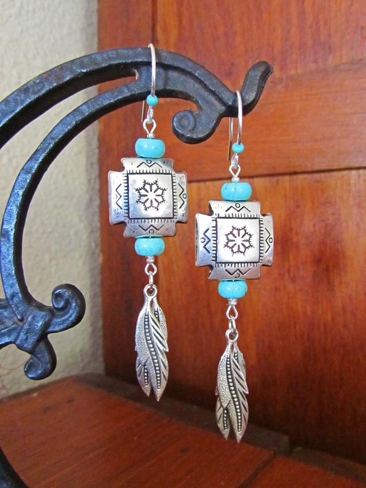 Western Dream Earrings... Native Southwest Tribal Feather Silver. $37.00, via Etsy.