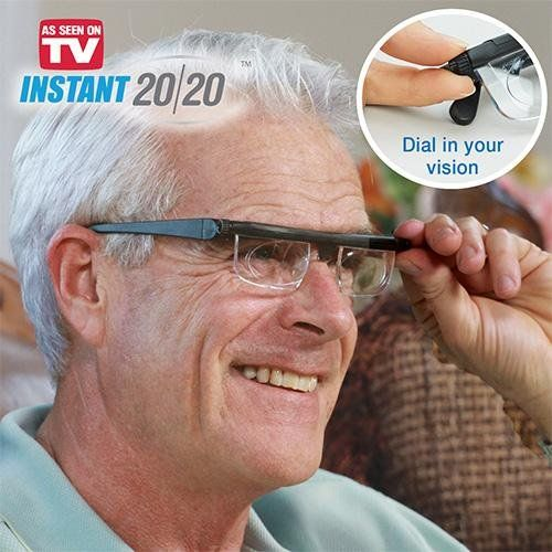 Instant 20/20 Adjustable Glasses. Corrects 90% of spherical errors. Perfect backup. Light weight and durable. Eye examinations can detect health problems that have not signs or symptoms. When you are in a bind and need to see, you need Instant 20/20. Adjustable for near or far sighted. NEVER disregard professional advice or delay in seeking it because of your purchase, receipt, or use of these glasses. You should have your eyes examined regularly by an Optometrist or Ophthalmologist.