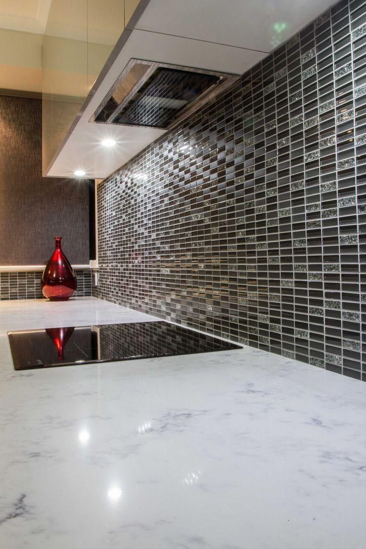 Contemporary kitchen. Tile splashback. Recon marble benchtop. www.thekitchendesigncentre.com.au