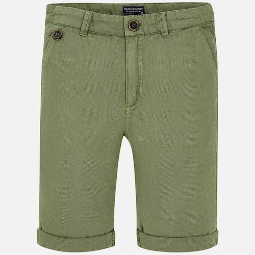 Boys Bermuda shorts by Mayoral, made in soft and stretchy cotton twill. Super comfortable to wear, they fasten with a single button and have an adjustable waistband for slimmer boys, four pockets and belt loops.