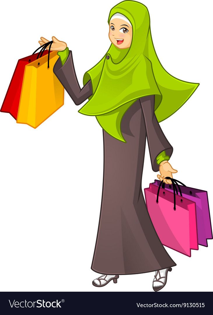 Muslim Woman Holding A Shopping Bag Wearing Green Vector