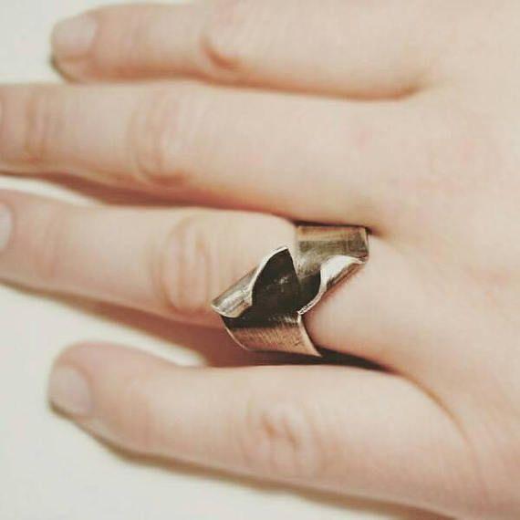 Swirl. Wide sterling silver ring simple elegant everyday