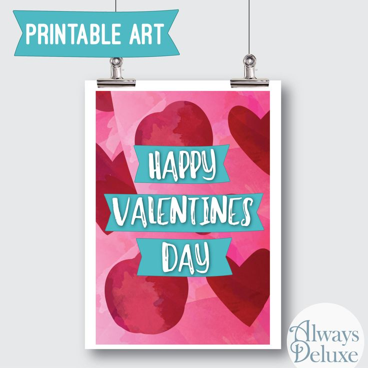"Downloadable Art ""Happy Valentine's Day"" red and pink 8x10inches by AlwaysDeluxe on Etsy"