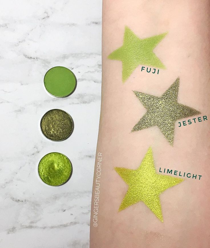 Gorgeous swatches of the makeup geek cosmetics shadows in fuji, jester and limelight. Swatches by @gingersbeautycorner #makeupswatches