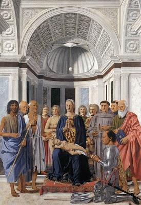 La Pala di Brera, o Pala Montefeltro  La tavola fa parte delle opere commissionate ad Urbino da Federico da Montefeltro a Piero, assieme al Doppio ritratto, alla Madonna di Senigallia e, forse, la Flagellazione.