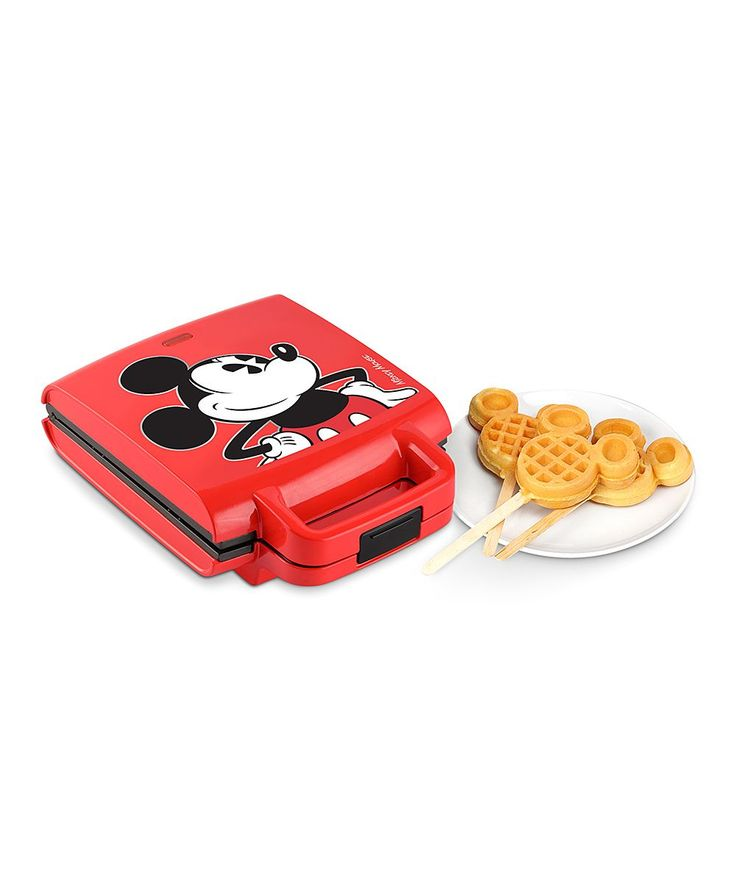 They say waffles taste better when they're shaped, and what's better than your little one's old pal Mickey? This easy-to-use waffle maker makes breakfast fun and on-the-go. Includes waffle maker and 50 wooden sticks6.9'' W x 4.3'' H x 12.7'' DAluminum / plastic950 WWipe cleanImported