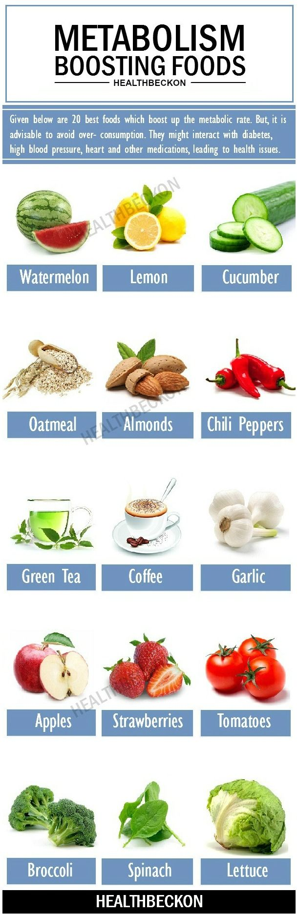 Given below are twenty foods which boost up the metabolic rate. But, it is advisable to avoid over- consumption. They might interact with diabetes, high blood pressure, heart and other medications, leading to health issues.