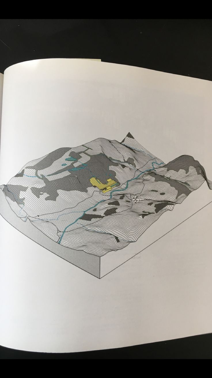 Steenbergen, Clemens. Composing landscapes: analysis, typology and experiments for design. Basel: Springer, 2009.  Analysis of the relationship between an English landscape garden and the topography of a river valley-- Chatsworth, Sheffield. Block Diagram.