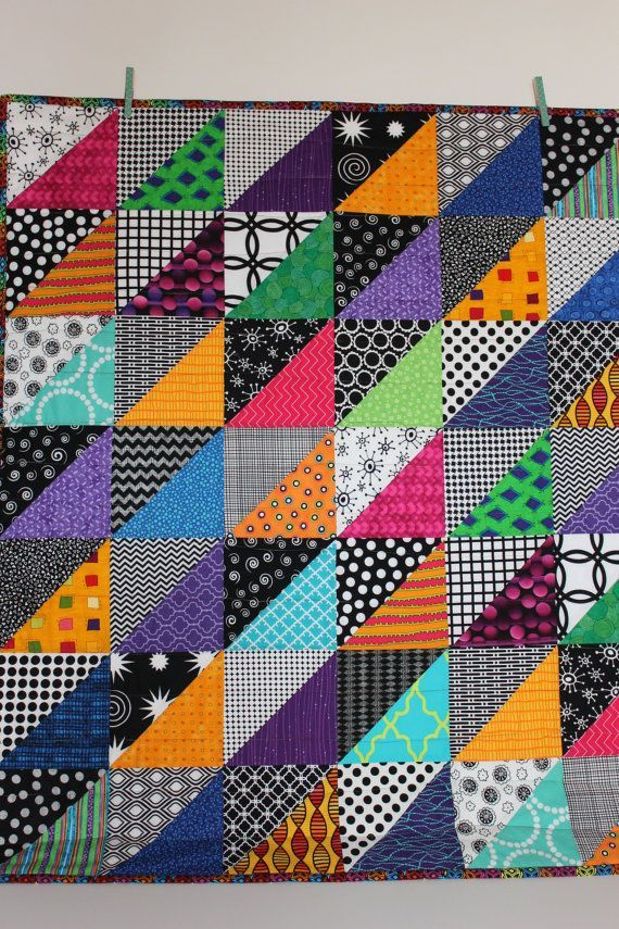"""Modern Baby Quilt; """"Sean""""; Contemporary; Geometric; Triangles; Bright Colors; Baby Quilt; Lap Quilt; Play Mat; Wall Hanging; Gender Neutral"""