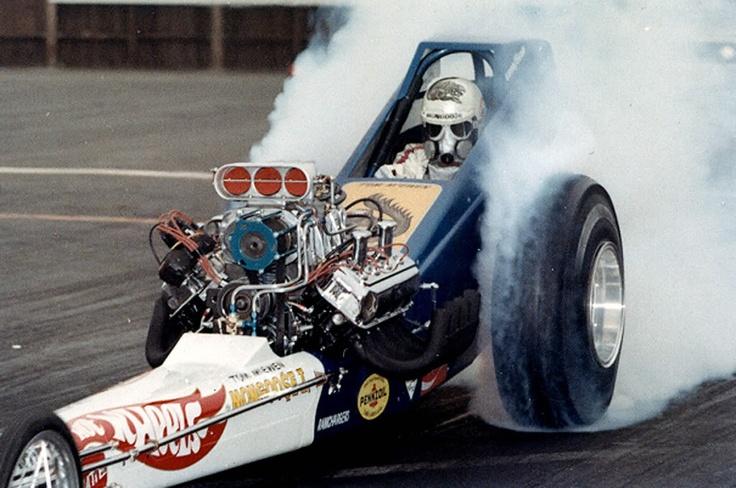 "Tom ""Mongoose"" McEwen's ""Hot Wheels"" slingshot dragster at OCIR...1971."