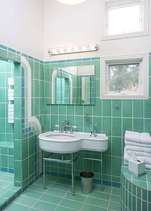 38 best vintage tile bathrooms images on pinterest for Art deco bathroom design ideas