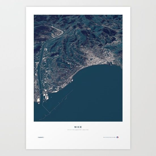 Nice - Host City of the UEFA Euro 2016 in France.<br/> <br/> A real world visualization map, showing the city structures of Nice with an exact three-dimensionality of topography and buildings in a balanced mixture of information and aesthetics.