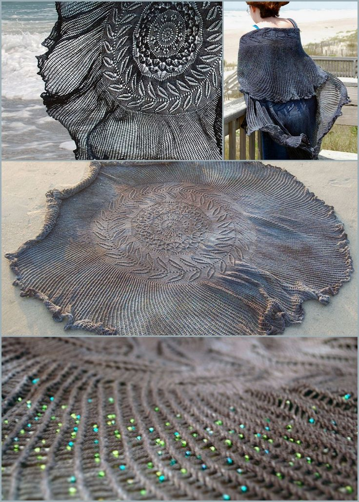 truebluemeandyou: DIY Free Pattern Shipwreck Shawl. Reblogged from someone else earlier, but I always wanted to show the different angles of this amazing scarf with 5000 optional Czech glass seed beads. Designed and modeled by Bethany Kok. Free Pattern with tons of advice from Knitty hereie placing of the beads, dyeing etc… *Not for the faint of heart. Sweetpea Path